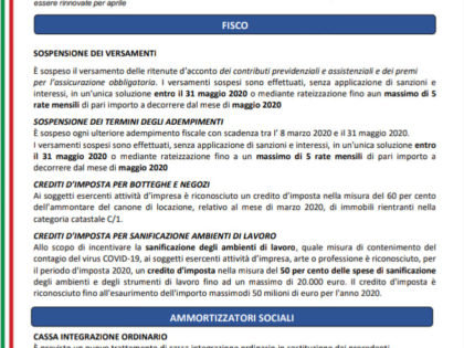 "Decreto Legge ""Cura Italia"""